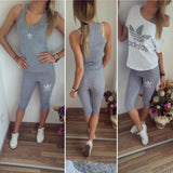 Light gray summer 3 parts set - wedge, vest and shirt