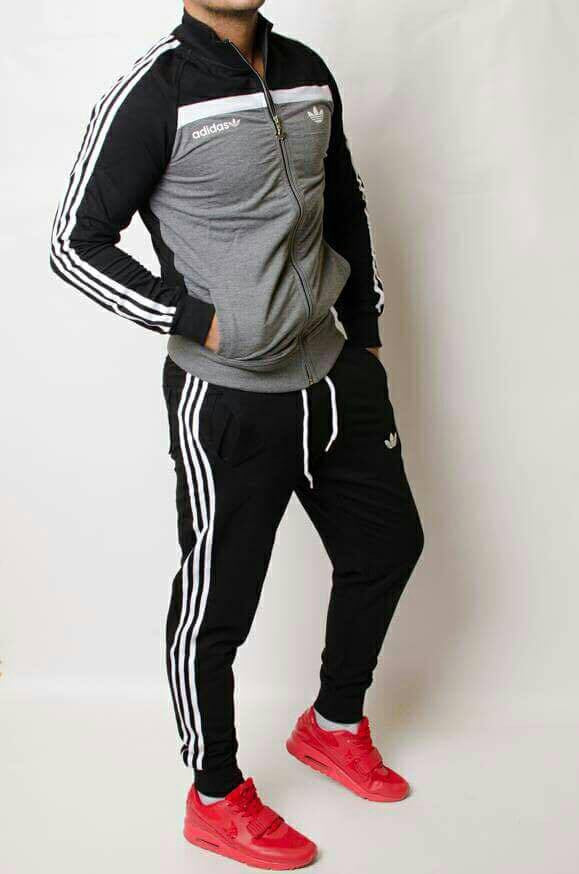 Tracksuit sports wear man gray and black