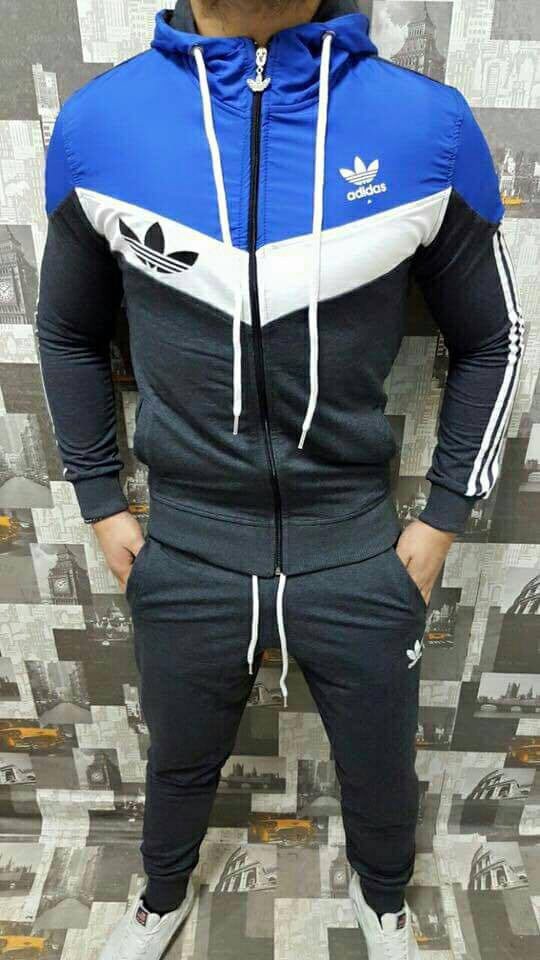 Tracksuit sports wear man black with blue and white