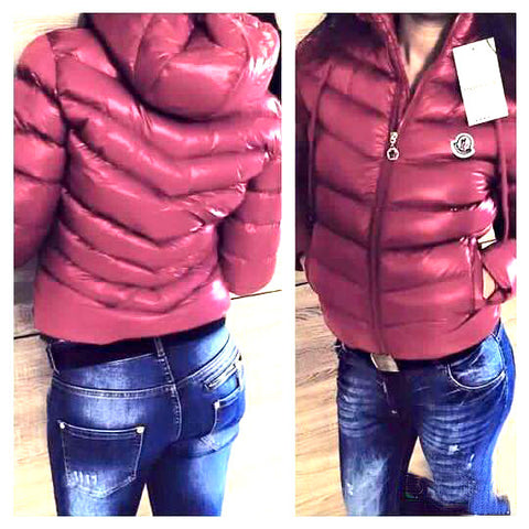 Hooded Puffer Jacket in Vino