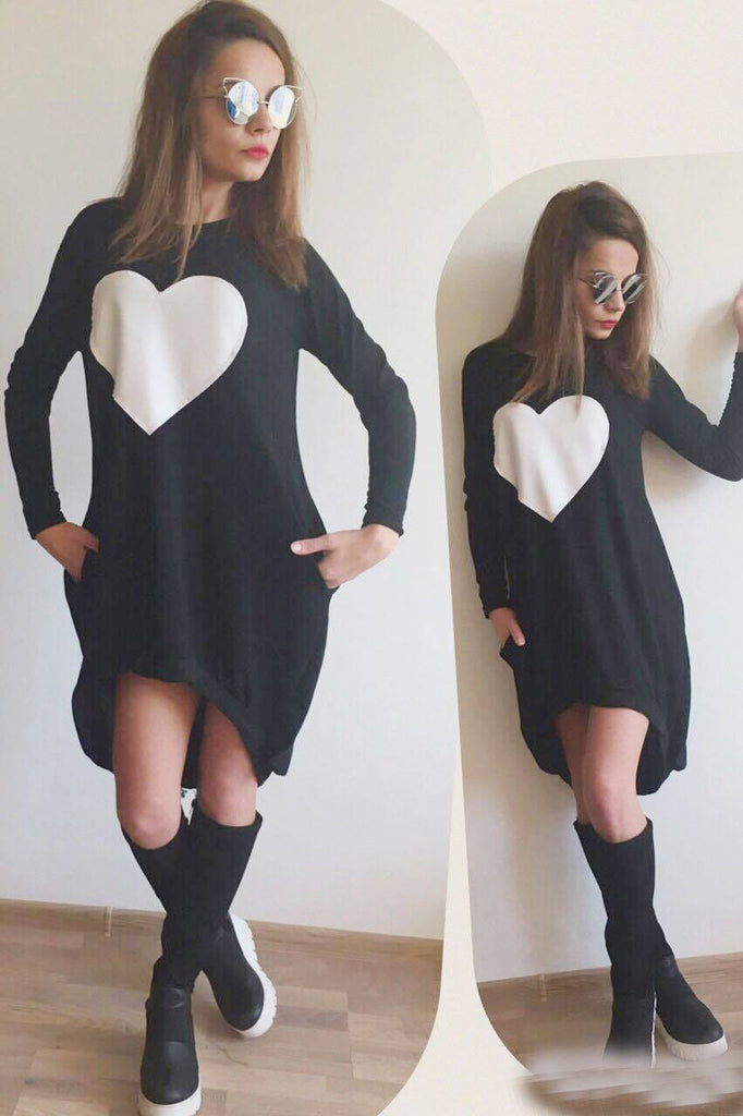 Asymmetrical Black Dress  , Big Heart