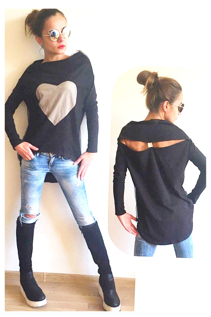 Asymmetrical Black  Top , Big Heart , Open back