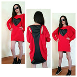 Asymmetrical Oversized Dress Tunic Top Heart