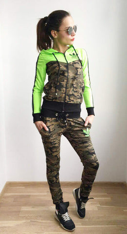 Bright Green and Army sport  set , Zip and Hoodie Top