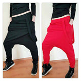 Drop Crotch Harem Style Loose Fit Asymmetrical Pants ,Low Bottom , Red or Black