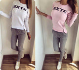 Women Sportswear suit sexy sports Costumes 2 Piece Set tops+pants