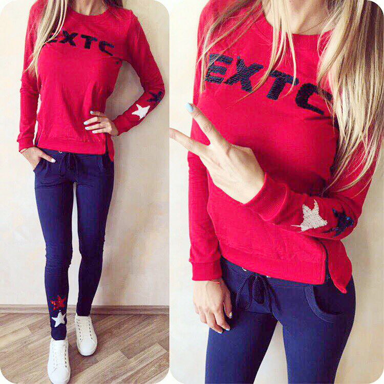 Women Sportswear suit sexy sports Costumes 2 Piece Set tops+pants red