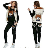 Warm and Soft 3 parts Set Black Teddy Bear  - vest , top and pants