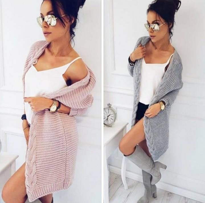 А long knit cardigan