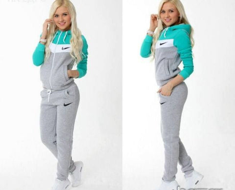 Tracksuit sports wear, light gray and green top and sleeves , front zip