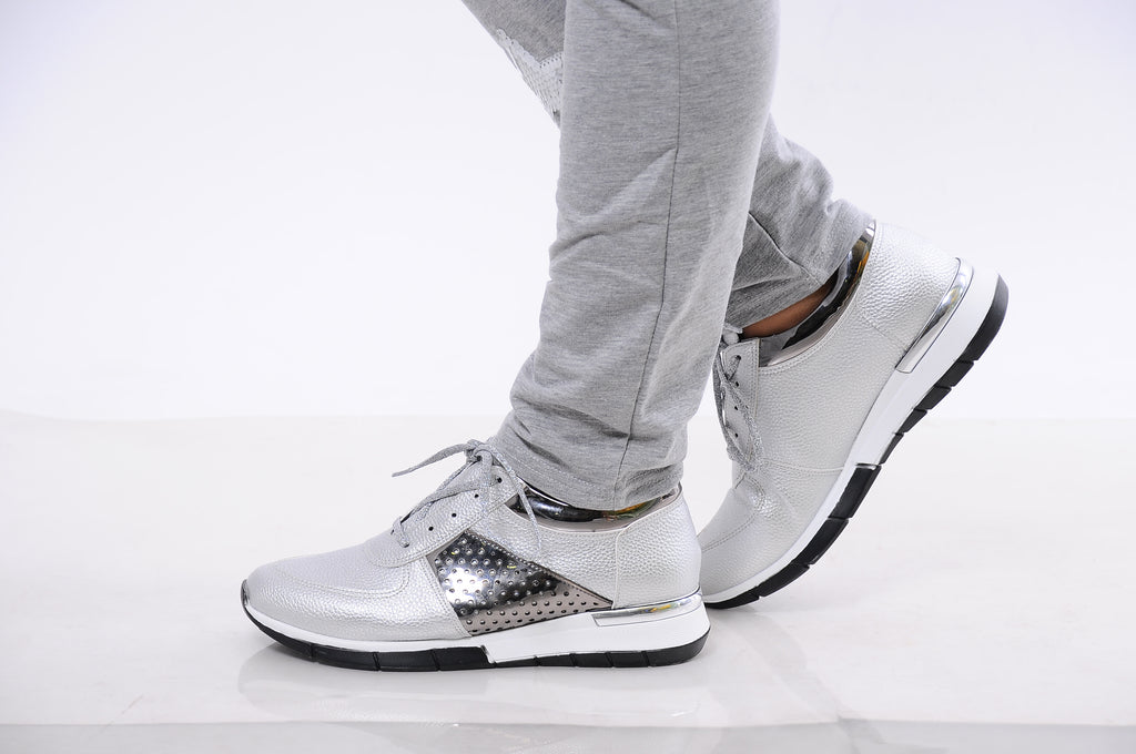 Modern silver sneakers Street  Sleek