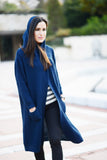 Long Knit Wrap Cardigan Navy