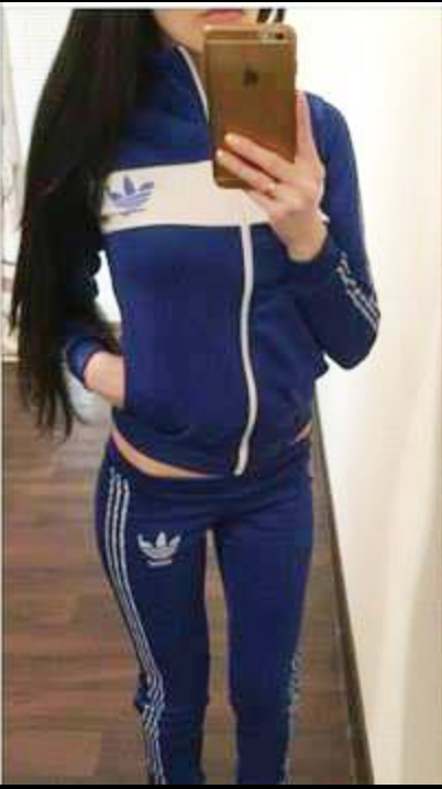 Tracksuit sports set in navy - zip and white line up in front