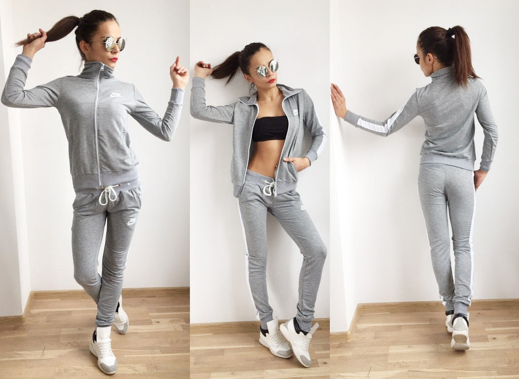 Light Gray , Front Zip ,White lines light sport set