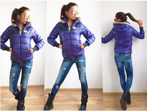 Ultra Light Weight, Worm,Faux Fur Hooded ,Short Jacket in Purple