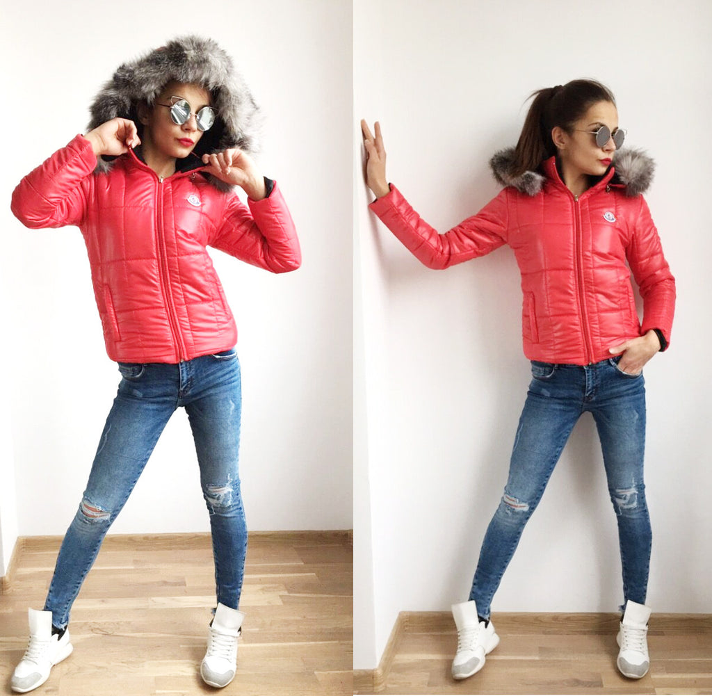 Ultra Light Weight, Worm,Faux Fur Hooded ,Short Jacket Red