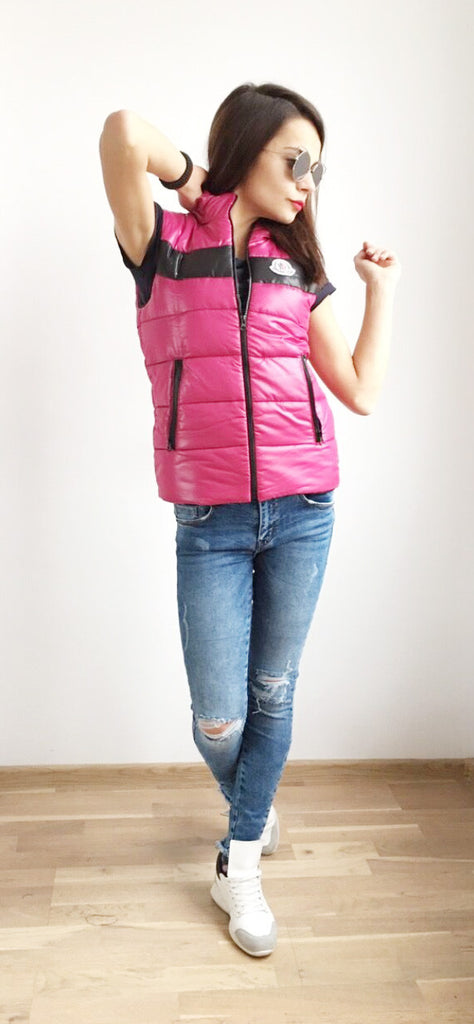Vest  in Pink with black