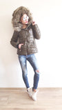 Ultra Light Weight, Worm,Faux Fur Hooded ,Short Jacket in Army Green