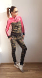 Bright pink and army pattern set , zip and hoodie top