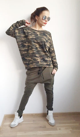 Oversize Army Pattern Sport Set , Pullover , Drop Crotch Harem Pants