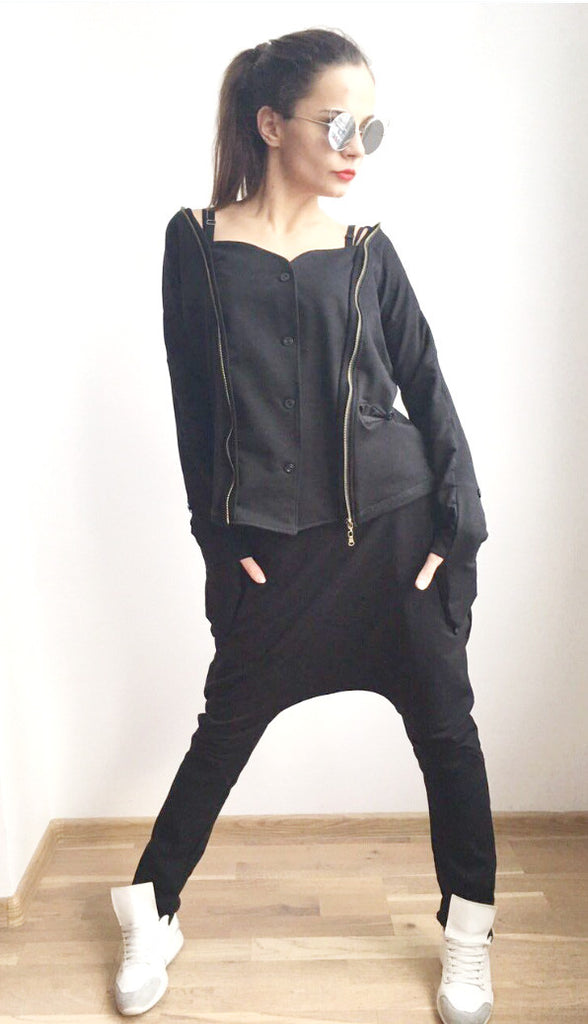 Extravagant , Asymmetrical Black Set ,Pullover Zip Open back , Drop Crotch Harem Pants Long Sleeves