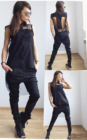 Asymmetrical Black Long Blouse Top- Sheer Back