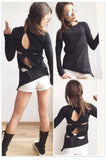 Open Back Extravagant  Black Blouse Top