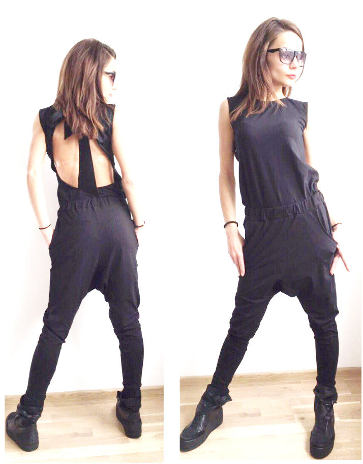 Thinking Out  Loud Black OPEN BACK JUMPSUIT