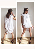 Mini Dress Tunic Low High White