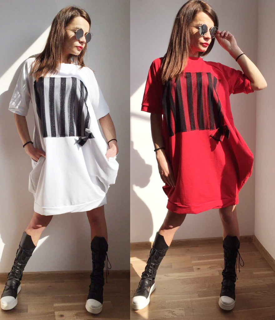 Oversized Tunic Dress in Red or White