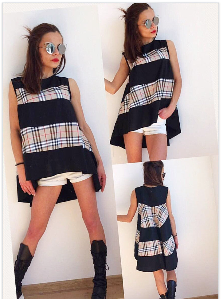 Low High Tunic Black and Signature Plaid