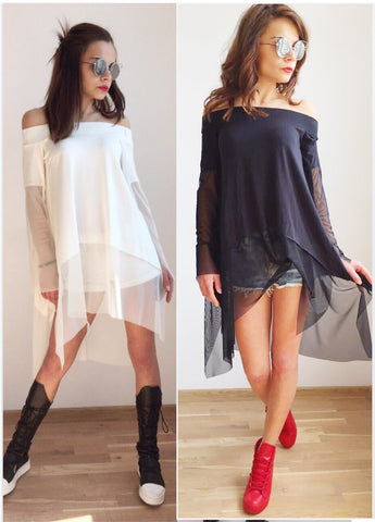 Black or White Open Neck Tunic Dress -Low /High ,Share Sleeves, Layers