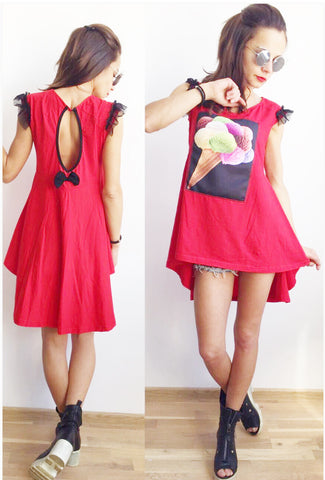 Ice Cream Time Mini Dress Top Red