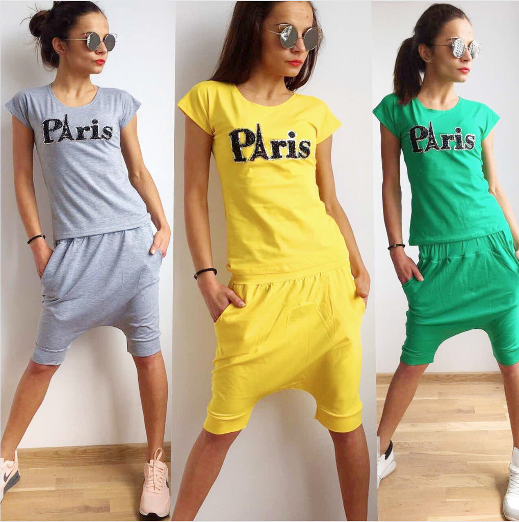 Drop Crotch Harem Style Shorts  and  T-shirt  PARIS