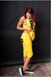 Drop Crotch Harem Style Loose Fit Asymmetrical Pants and Wrap Top 07 Yellow