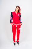 Women Two Pieces Long Sleeve Zipper Sweat and Pants Sports Outfits Set Red
