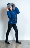 Puffer Navy Faux Fur Trim  Jacket