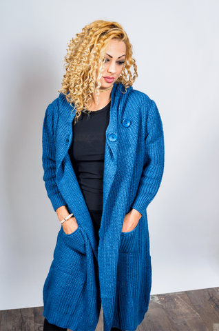 Long Knit Wrap Cardigan Blue