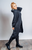 Long Knit Wrap Cardigan Charcoal