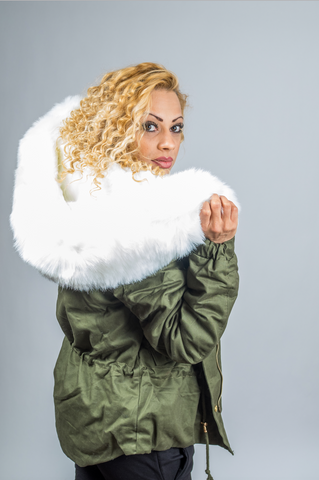 White  Faux Fur  Hooded  Parka Jacket  Army Green