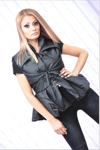 Flared Vest Cape Sleeveless Black