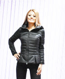 Flared Puffer Short Black Coat Jacket
