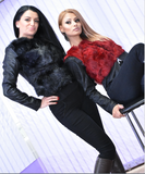 Mixed Faux Fur Faux Lether Coat  Jacket Black or Red