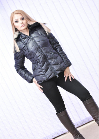 Puffer Black Faux Fur Trim Jacket