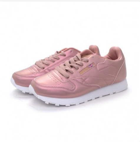 Pale Neon Pink Classic Women Fashion Sneaker Lace UP