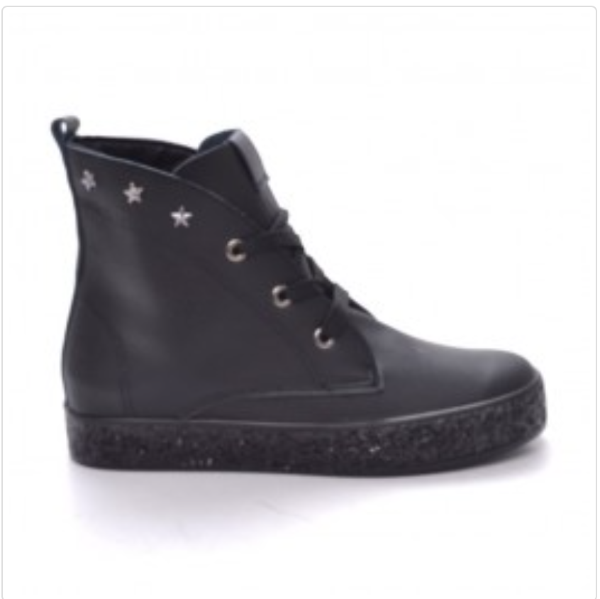Black  Platform Classic Ankle Boot With Stars