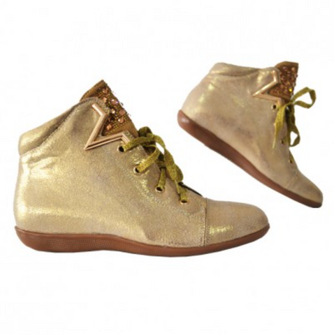 Gold  Ankle Boot With Stars and Sequins