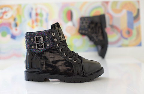 Shiny  black boot sequin and buckle detailing