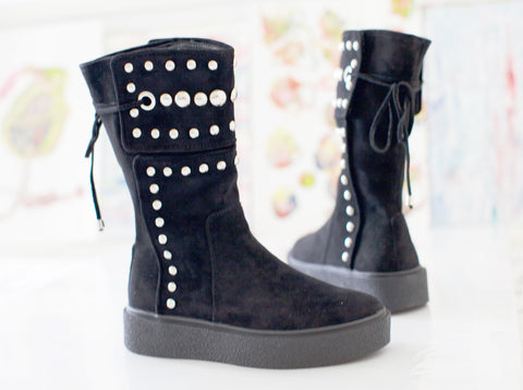 Suede Roady Boot With Metal Detailing
