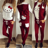 Three-Pieces Set -Sweater,Bottoms and Hooded Vest